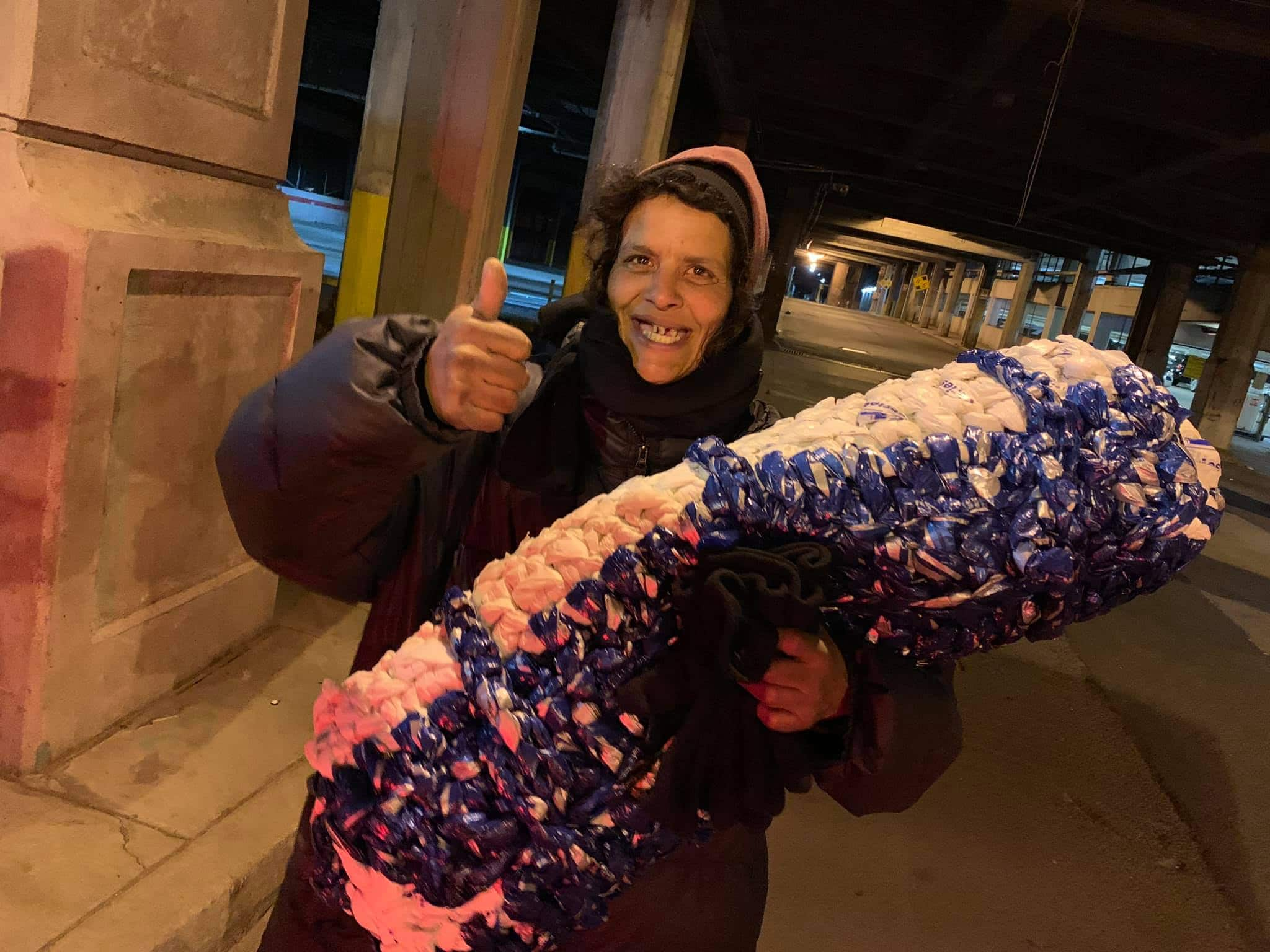 Plastic Grocery Bags turned into Mats for the Homeless