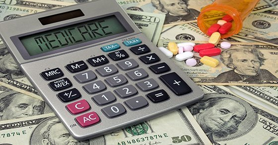 calculator on top of money and pills