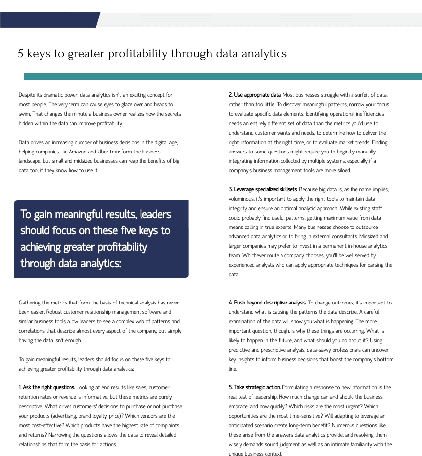 five keys to greater profitability through data analytics