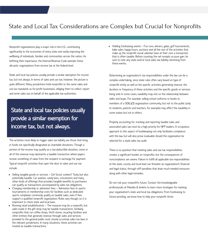 state and local tax considerations are complex but crucial for nonprofits
