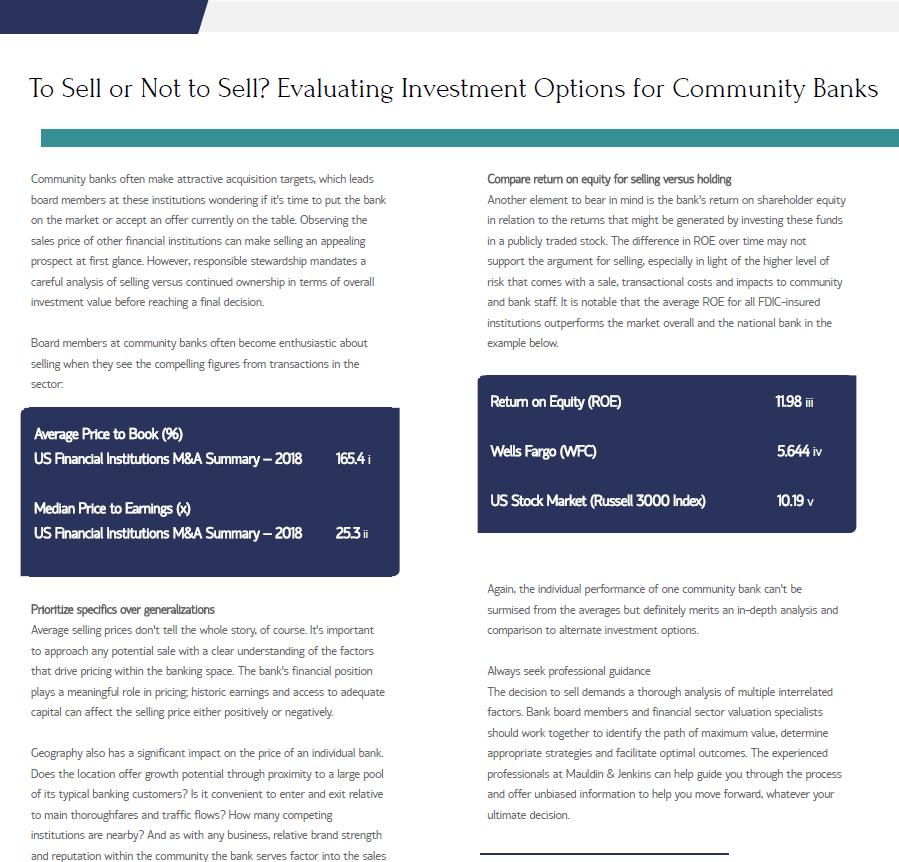 evaluating investment options for community banks jim vaughn