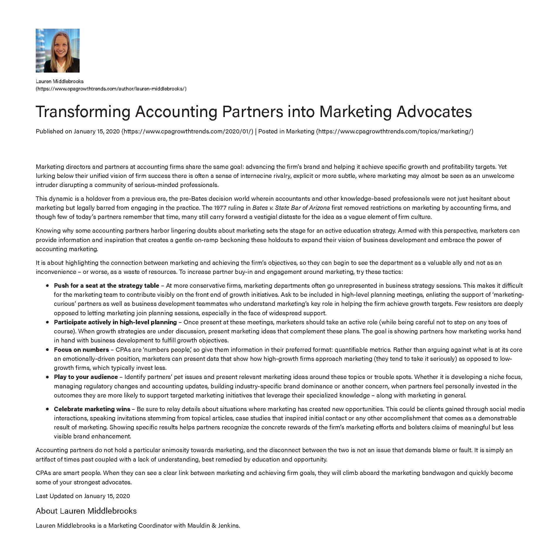 Mauldin & Jenkins Transforming Accounting Partners into Marketing Advocates lauren middlebrooks
