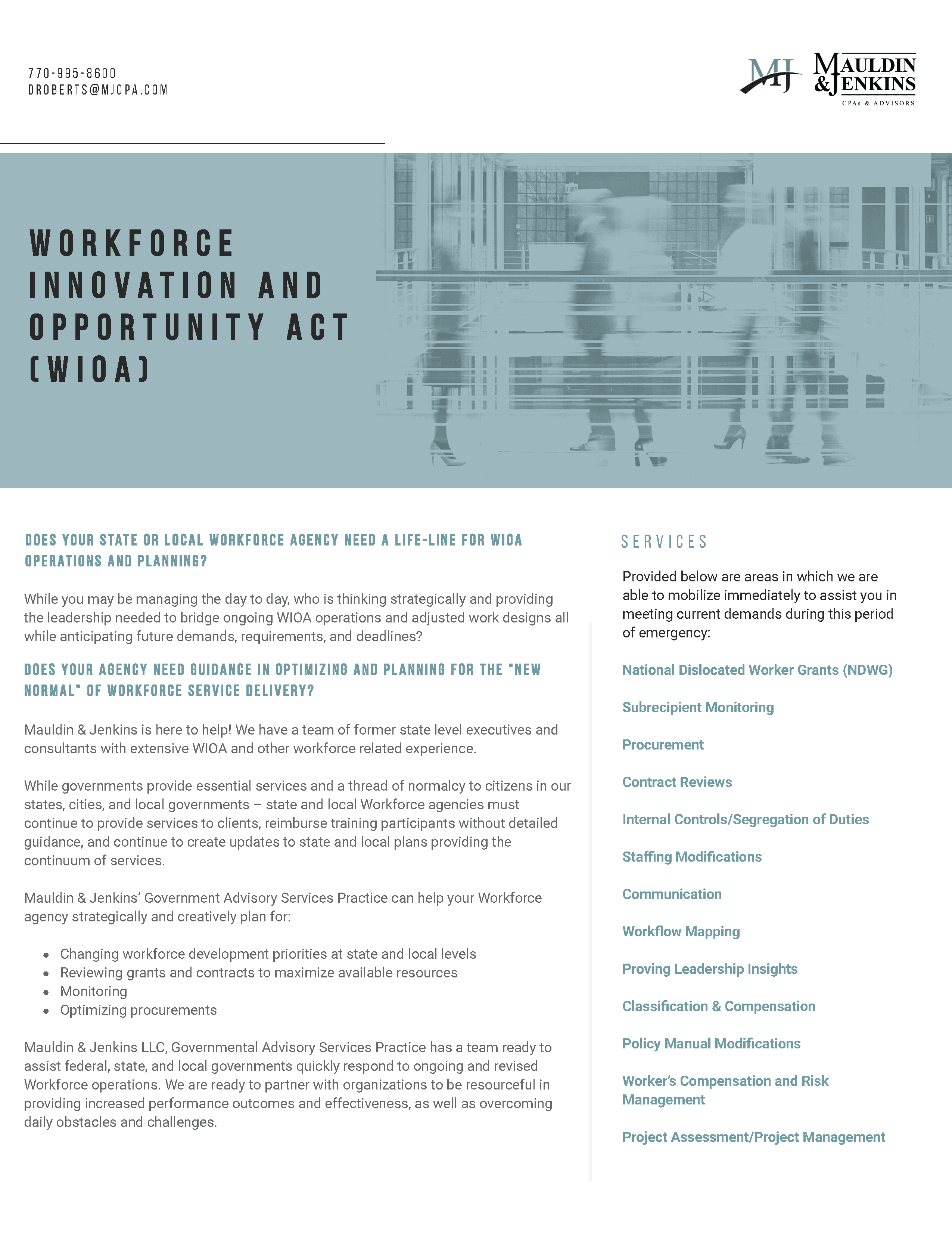Mauldin & Jenkins workforce innovation and opportunity act wioa