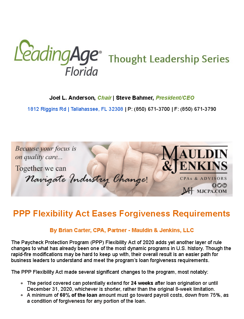 Mauldin and Jenkins Mail - Fwd_ Thought Leadership Series_ PPP Flexibility Act Eases Forgiveness Requirements