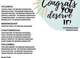 Congrats to all of our September 1st promotions!